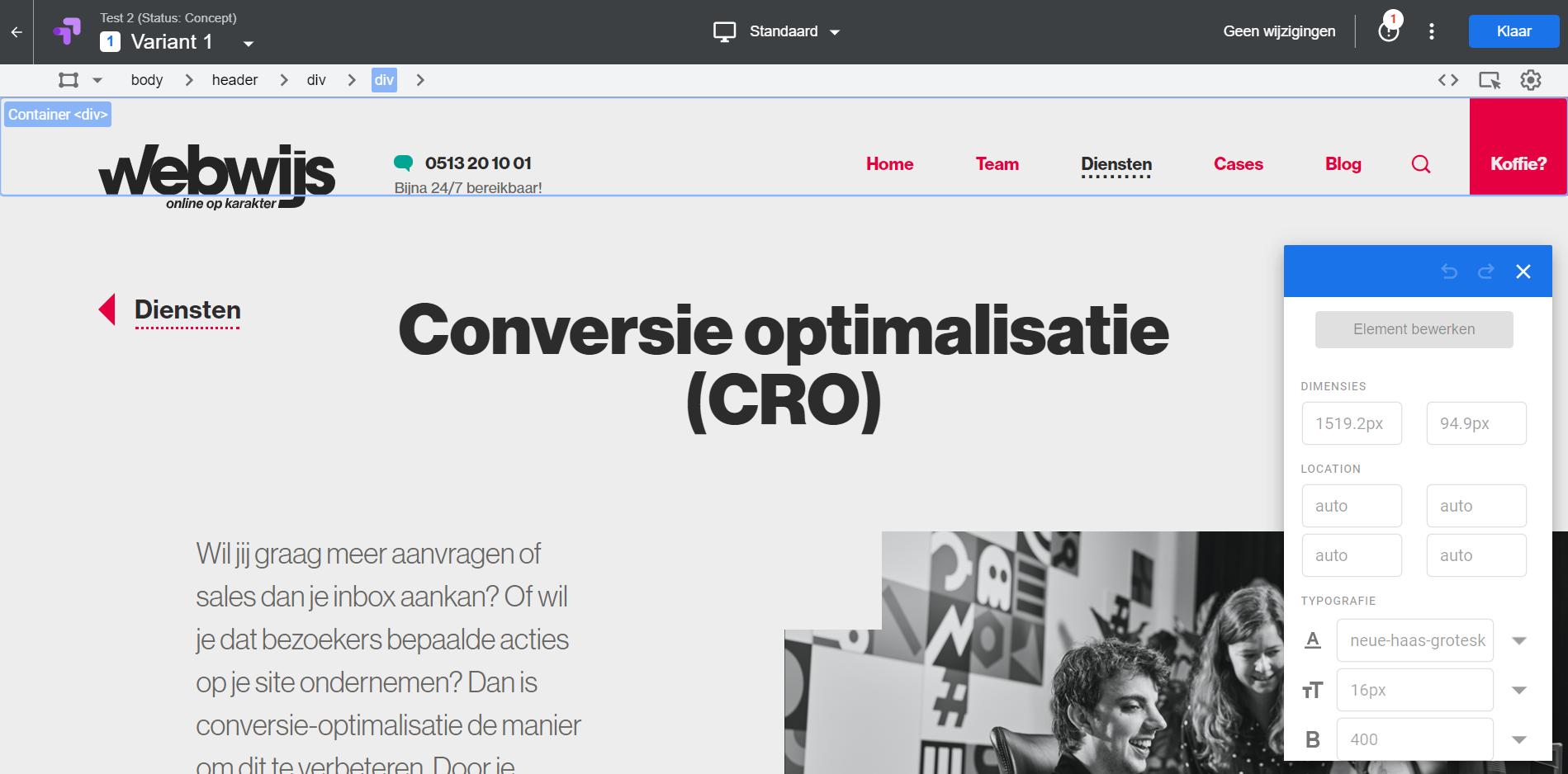 Google Optimize - variant bewerken