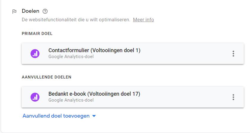Doel instellen Google Optimize