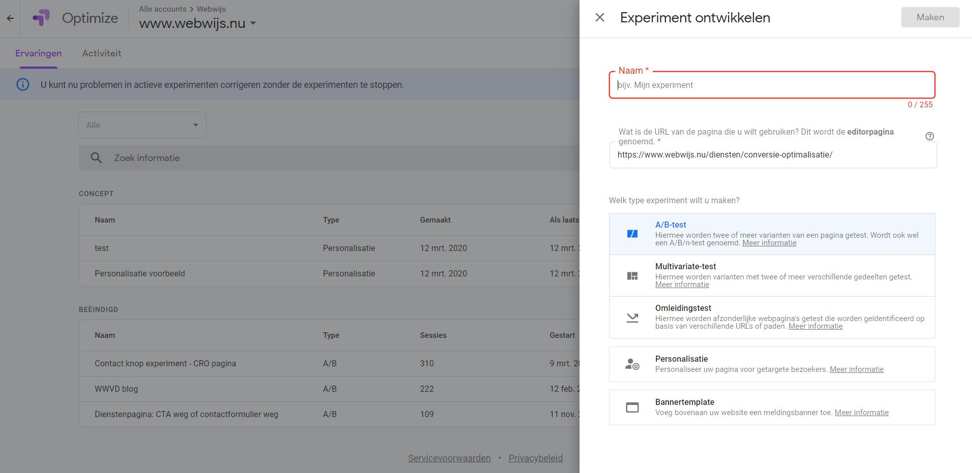 Google Optimize - Ervaring ontwikkelen
