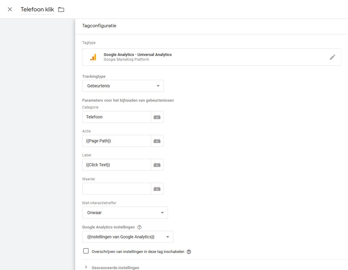 Koppelen aan Google Tag Manager